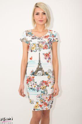 Rochie de zi cu imprimeu floral - Tour Eiffel