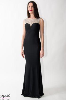Rochie de ocazie neagră accesorizată cu cristale