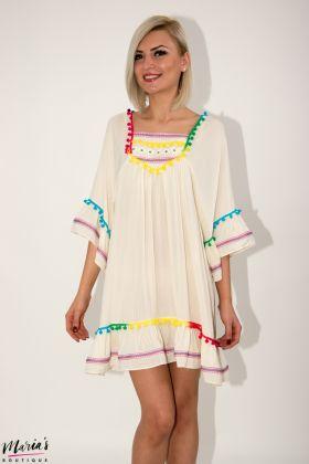 Rochie de zi bej cu aplicații multicolore