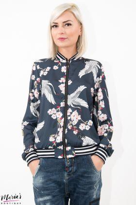 Jachetă aviator silonată cu imprimeu floral