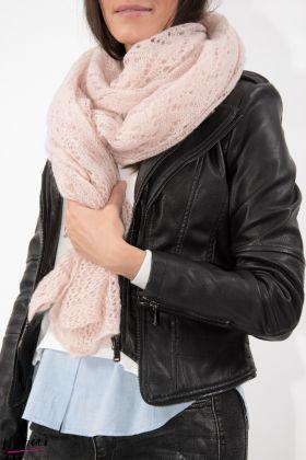 Eșarfă tricotată roz