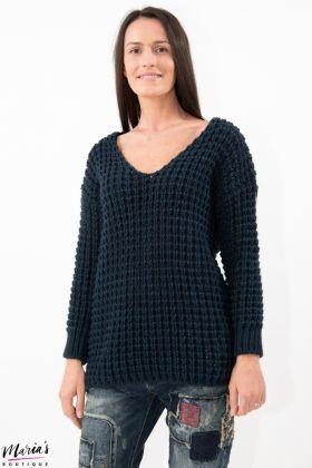 Pulover albastru tricotat
