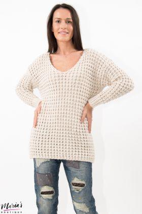 Pulover bej tricotat