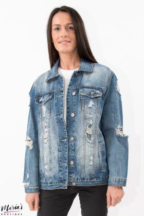 Jachetă denim din țesătură cu efect uzat