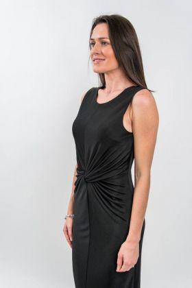 Rochie de zi neagră conică cu pliuri