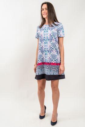 Rochie de zi dreaptă cu imprimeu multicolor