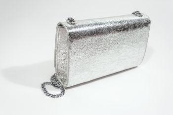 Poșetă argintie cu ciucure metalic decorativ