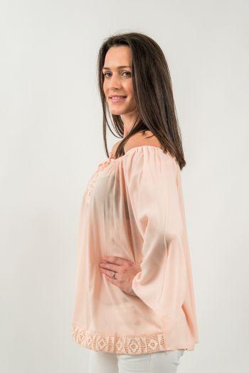 Bluză roz prăfuit brodată cu șnur cu canaf