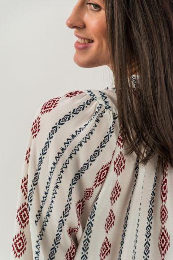 Bluză gen ie cu imprimeu tradițional