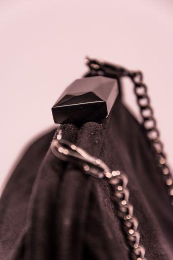 Poșetă Diana & Co - neagră material catifelat
