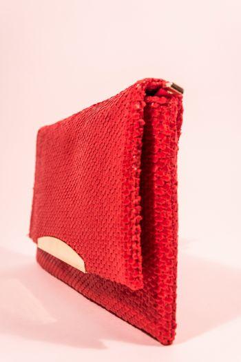 Poșetă plic roșie imitație solzi șarpe