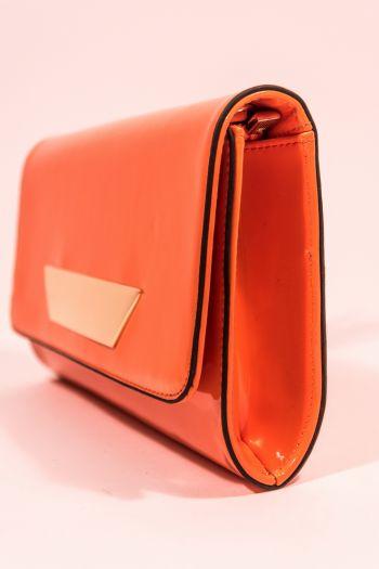 Poșetă plic orange lăcuită