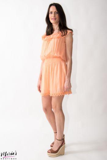 Rochie orange de vară din mătase cu dantelă