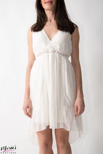 Rochie din mătase albă cu elemente brodate