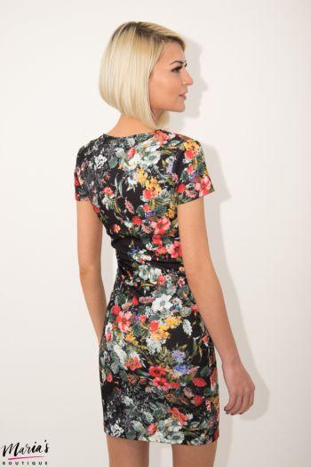 Rochie de zi neagră cu imprimeu floral