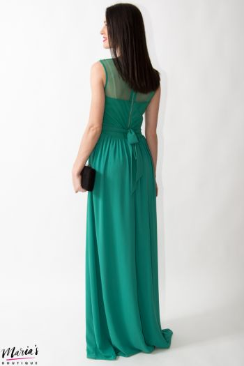 Rochie de ocazie verde smarald accesorizată cu paiete