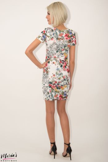 Rochie de zi albă cu imprimeu floral