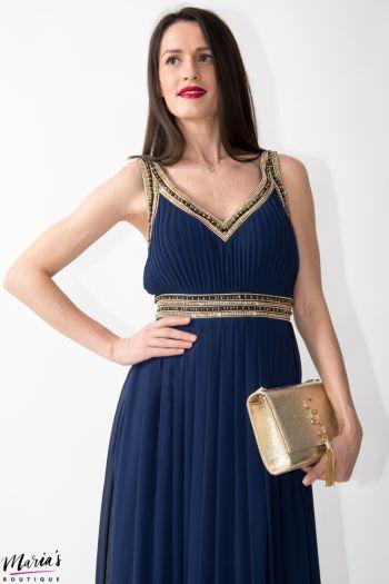 Rochie de ocazie albastru indigo accesorizată cu mărgele și pietricele