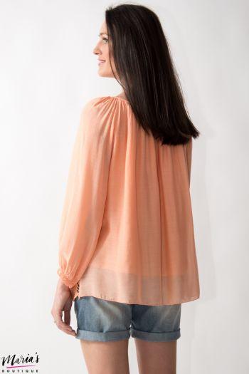Bluză roz somon cu decolteu cu șnur