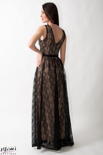Rochie de ocazie neagră din dantelă brodată