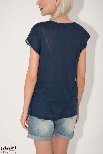 Tricou albastru imprimeu dungi
