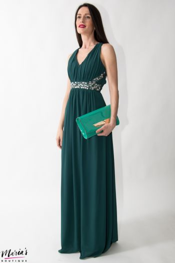Rochie de ocazie verde accesorizată cu cristale