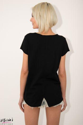 Tricou negru cu imprimeu și ștrasuri
