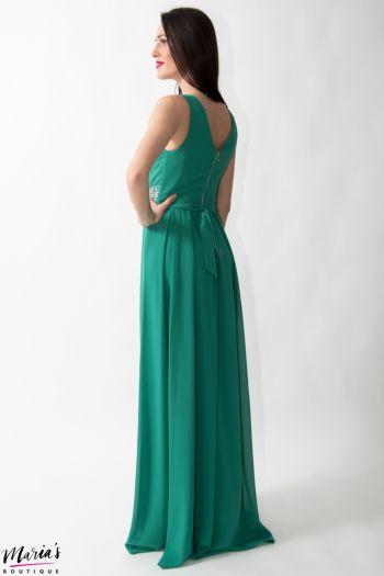 Rochie de ocazie verde smarald accesorizată cu cristale