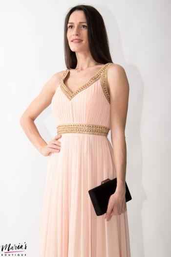 Rochie de ocazie roz pal accesorizată cu mărgele și pietricele