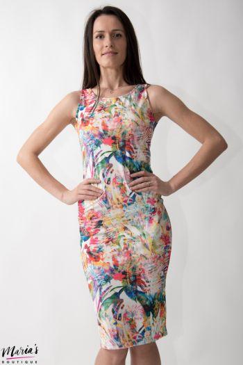Rochie de zi fucsia cu imprimeu floral