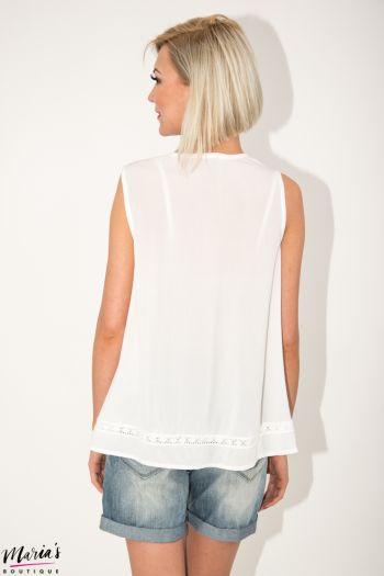 Bluză albă fără mâneci cu elemente brodate