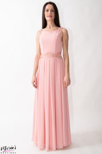 Rochie de ocazie roz prăfuit cu pliuri accesorizată cu mărgeluțe