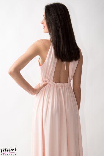 Rochie de ocazie roz pal accesorizată cu perluțe sidefate