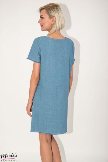 Rochie de zi albastră cu decolteu brodat