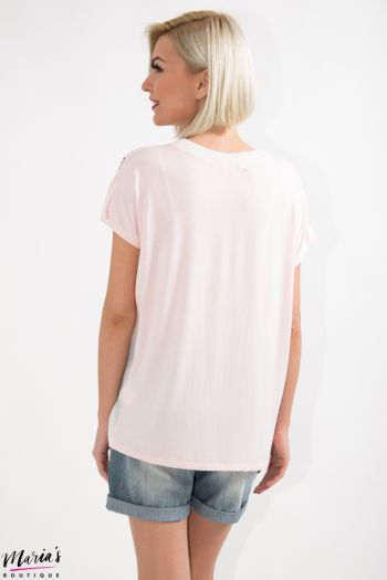 Bluză roz cu imprimeu floral