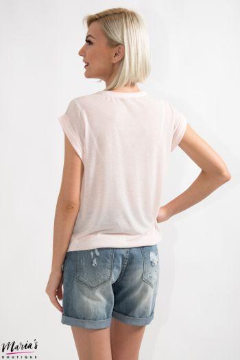 Tricou roz cu imprimeu
