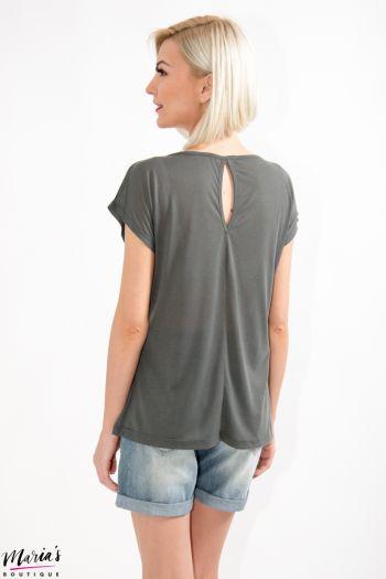 Tricou gri cu imprimeu și ștrasuri