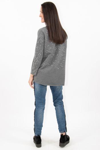 Bluză gri cu aplicații sclipitoare argintii