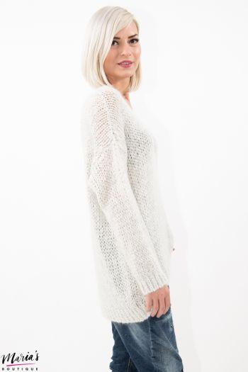 Pulover tricotat alb cu inserții argintii