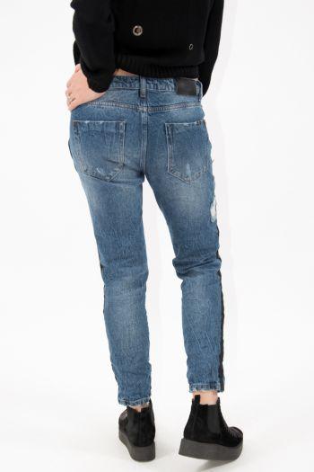 Jeans model rupți cu dungă laterală neagră