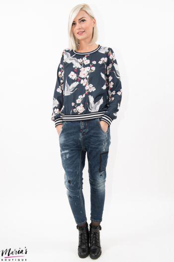 Bluză silonată cu imprimeu floral