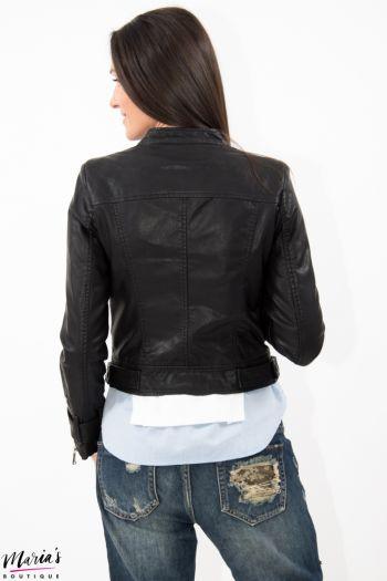 Geacă neagră biker din piele ecologică