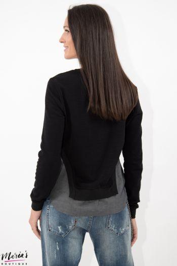 Bluză neagră cu terminație asimetrică gri