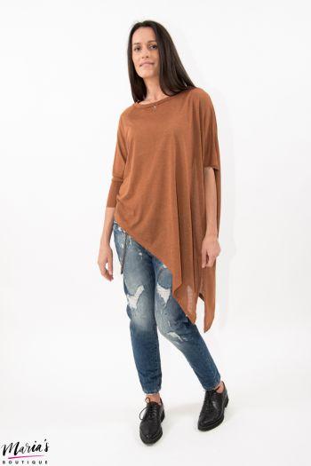 Bluză asimetrică maro