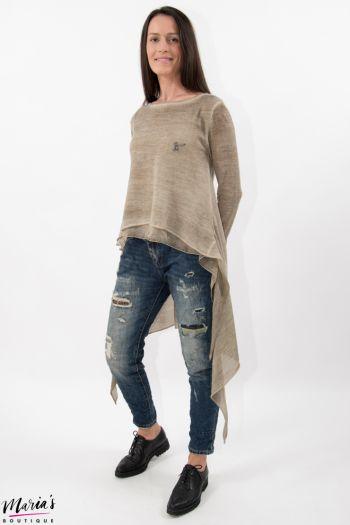 Bluză tricotată bej asimetrică