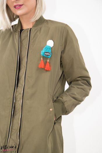 Jachetă aviator verde militar lungă