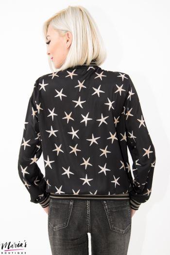 Jachetă aviator silonată cu imprimeu steluțe de mare