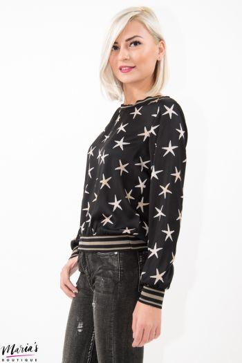 Bluză silonată cu imprimeu stele de mare