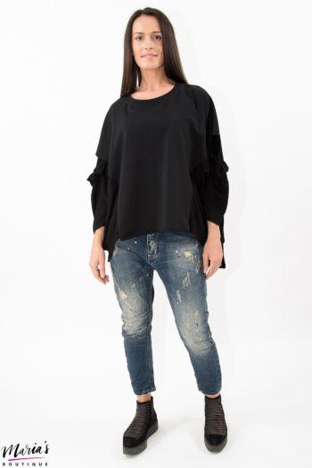 Bluză neagră cu lateralele tricotate
