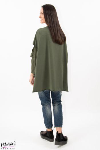 Bluză verde cu lateralele tricotate